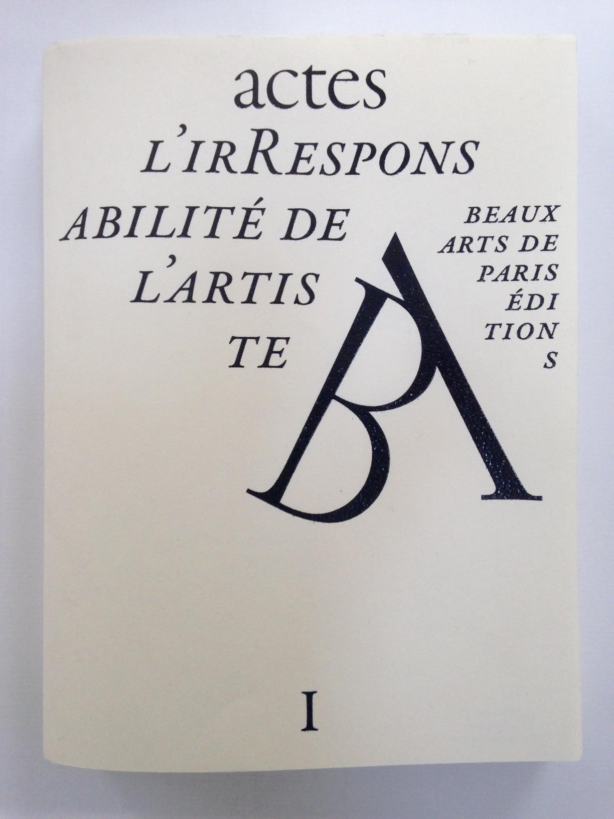 Representation of L'irResponsabilité de l'artiste- Actes du colloque